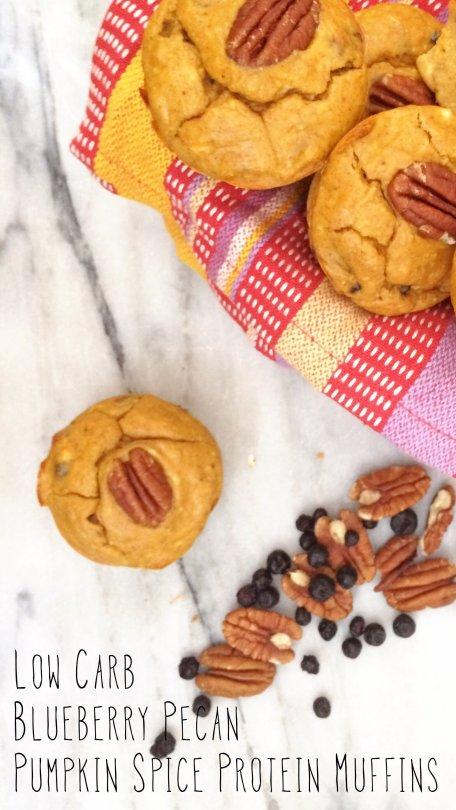 Low Carb Blueberry Pecan Pumpkin Spice Protein Muffins | Meat Free Keto - sugar free, grain free, gluten free