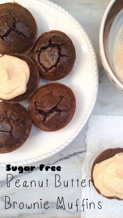 Sugar Free Peanut Butter Brownie Muffins | low carb, keto, LCHF, grain free, gluten free