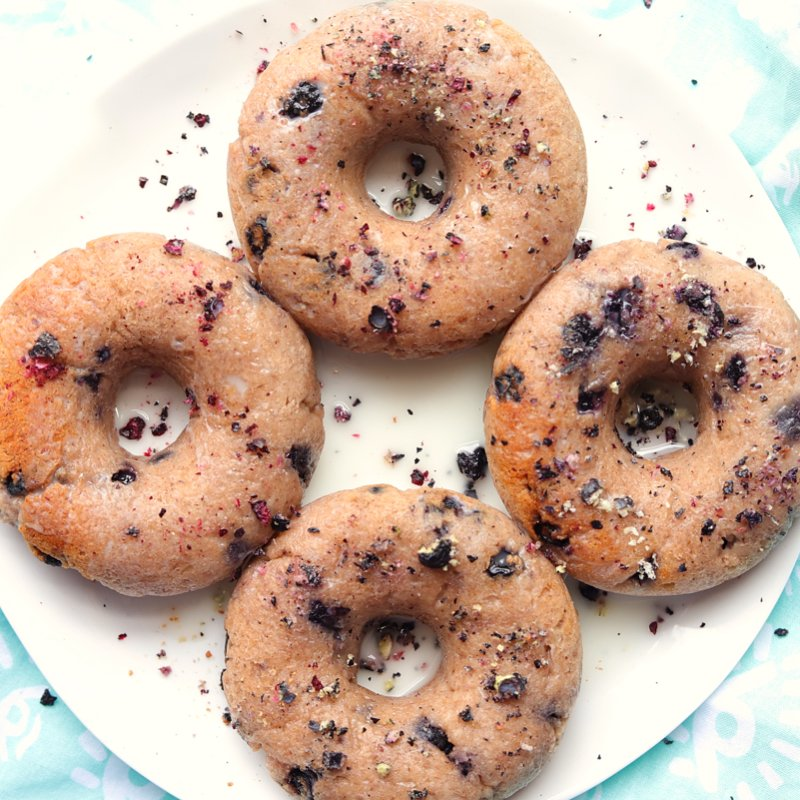 Vegan Keto Blueberry Doughnuts (gluten-free, nut-free, soy-free, sweetener-free)