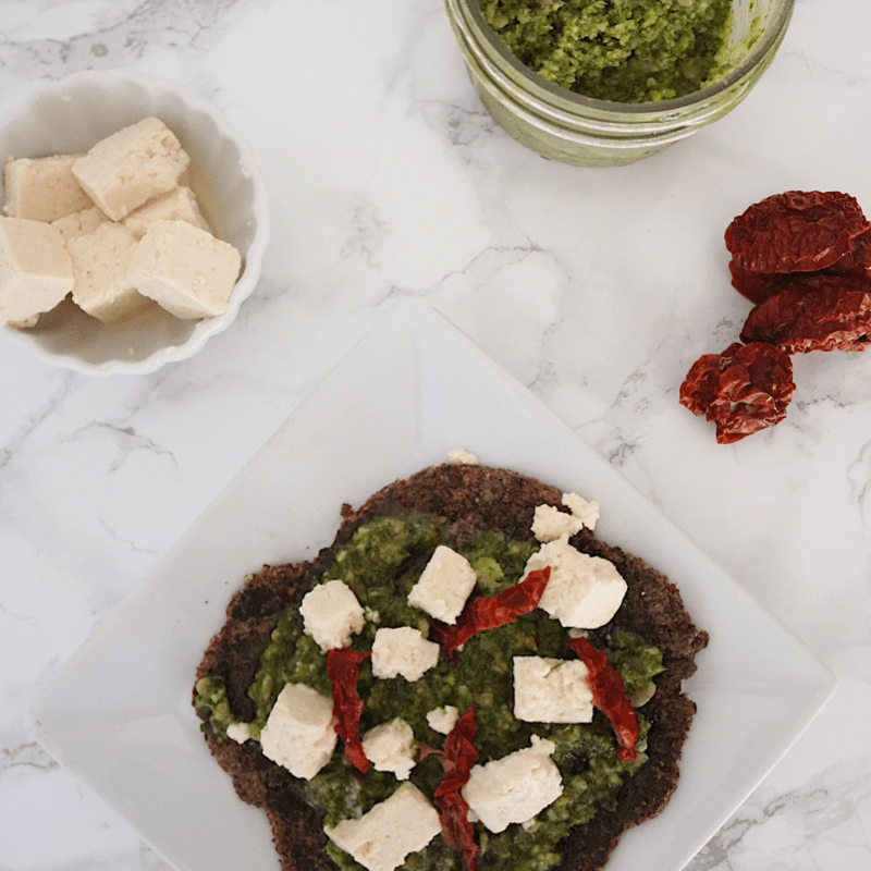 Low Carb Vegan Pesto Flatbread