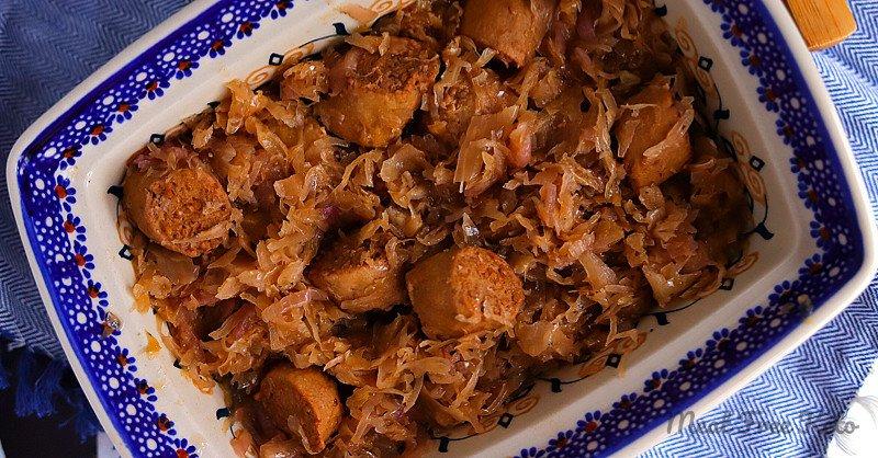 """Vegan Keto Braised Sauerkraut & """"Sausage"""" (gluten-free, low carb, soy-free)"""