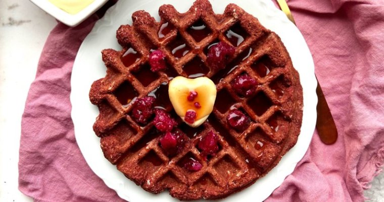 Vegan Keto Red Velvet Waffles (gluten-free, coconut-free, soy-free)