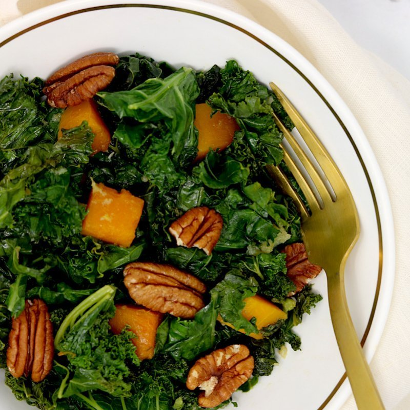 Sauteed Kale & Butternut Squash with Toasted Pecans (vegan, keto-friendy)