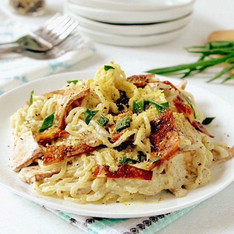Vegan Keto Carbonara (gluten-free, nut-free, dairy-free, egg-free)