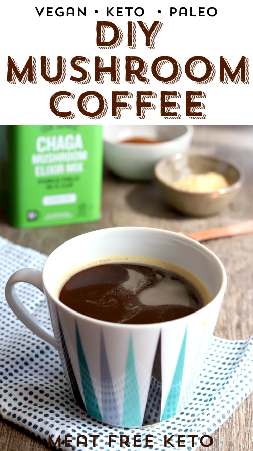 a cup of instant vegan keto musroom coffee