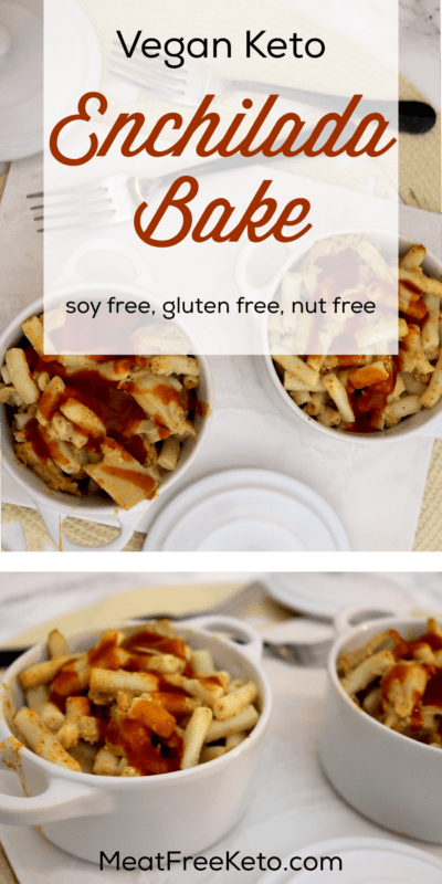 Low Carb Vegan Enchilada Bake | Meat Free Keto - This easy and delicious low carb vegan enchilada bake is high in fiber, gluten free, soy free and contains omega-3 fatty acids and protein.