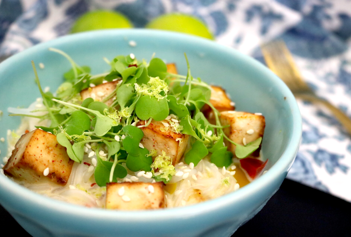 Low Carb Vegan Coconut Lime Noodles with Chili Tamari Tofu (gluten free, keto, low-FODMAP)