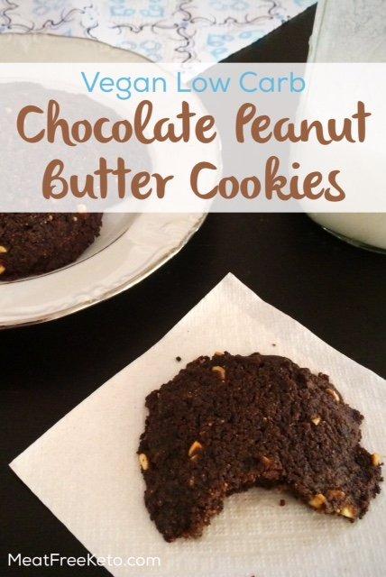 Chocolate Peanut Butter Vegan Low Carb Cookies