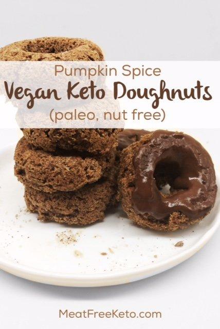 Pumpkin Spice Vegan Keto Doughnuts (nut free, paleo) | A delicious, low carb vegan donut - made with coconut flour!