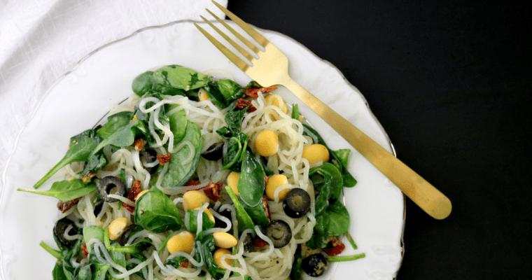 Low Carb Vegan Mediterranean Noodles & Lupini Beans (gluten free, low-FODMAP, soy free)
