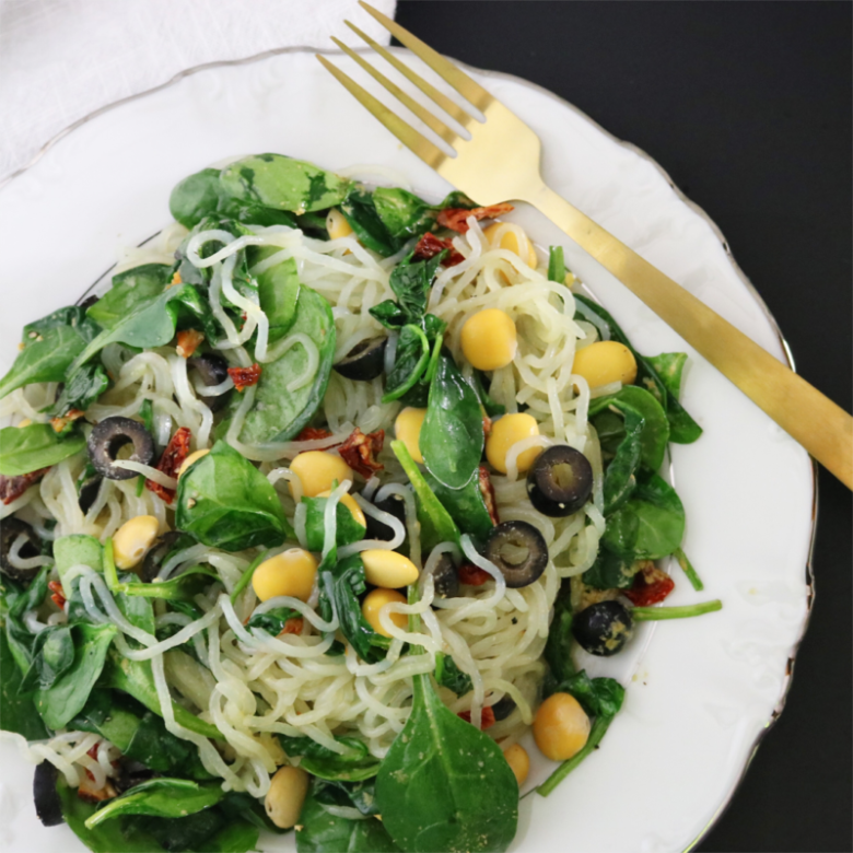 Low Carb Vegan Mediterranean Noodles With Lupini Beans | Meat Free Keto - This Mediterranean inspired low carb vegan keto pasta dish is high in fiber and protein, and is gluten free, soy free, egg free, dairy free, nut free and low-FODMAP.