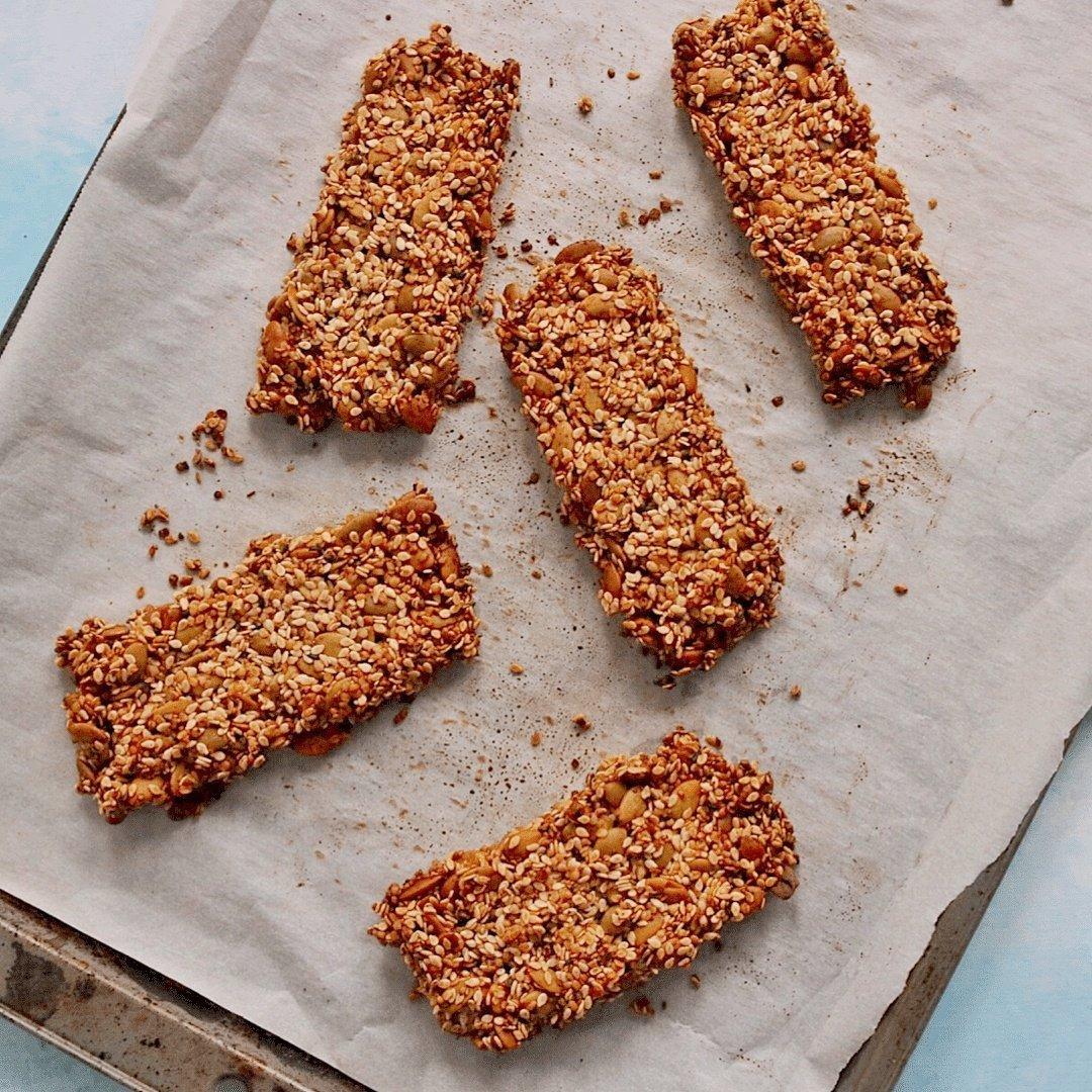 vegan keto seed granola bars on a baking sheet