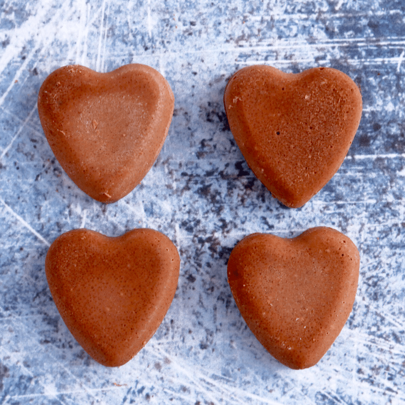 four heart shaped fat bombs