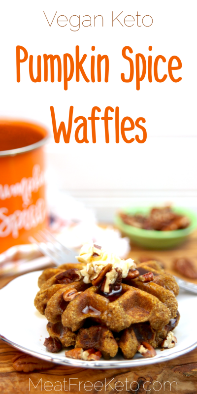 Vegan Keto Pumpkin Spice Waffles | MeatFreeKeto.com - These vegan keto pumpkin spice waffles are the perfect treat for a fall breakfast or brunch. They're gluten-free, nut-free, egg-free, dairy-free, sugar-free, low carb and surprisingly easy to make!