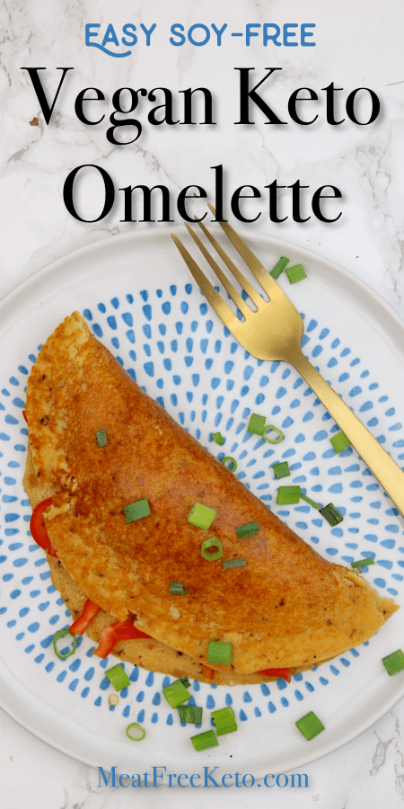 Easy Vegan Keto Omelette (soy-free & gluten-free) | MeatFreeKeto.com - This delicious easy vegan keto omelette is soy-free (no tofu!), gluten free and super easy to make. It's the perfect way to add protein and fiber to your meal, while still being low carb.
