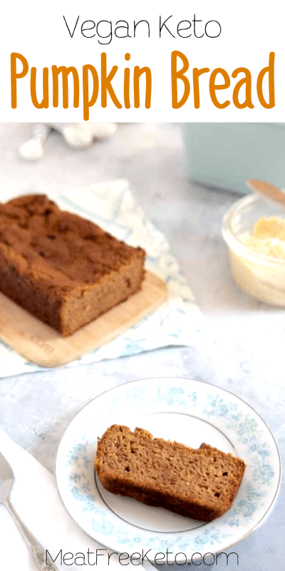 Vegan Keto Pumpkin Bread | MeatFreeKeto.com - This vegan keto pumpkin bread is rapidly becoming my favorite fall treat! It's gluten-free and nut-free and can easily be made soy-free.