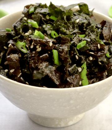 a bowl of low carb vegan nori salad