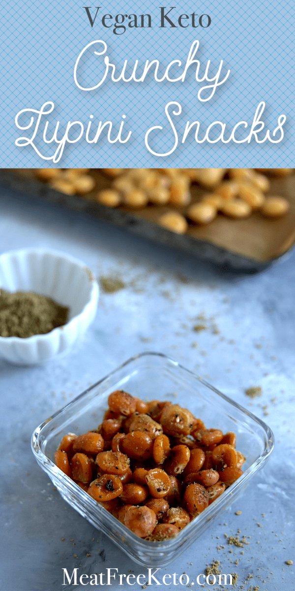 Vegan Keto Snacks: Crunchy Lupini Beans | MeatFreeKeto.com - These crispy baked lupini beans are a delicious vegan keto snack. They're crunchy, salty and a good source of that tricky-to-find amino acid, lysine. Lupini beans are high in protein and make a great low carb vegan snack!