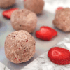 Low Carb Vegan Strawberry Cheesecake Protein Balls | Meat Free Keto - These vegan keto strawberry cheesecake protein balls are nut free, soy free, gluten free, low carb, tasty and easy to make!