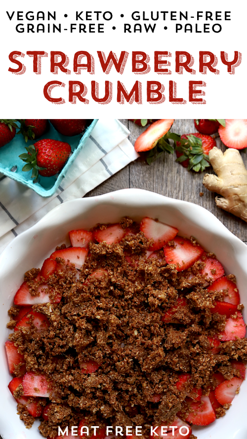 the pinterest image for the raw vegan keto strawberry crumble