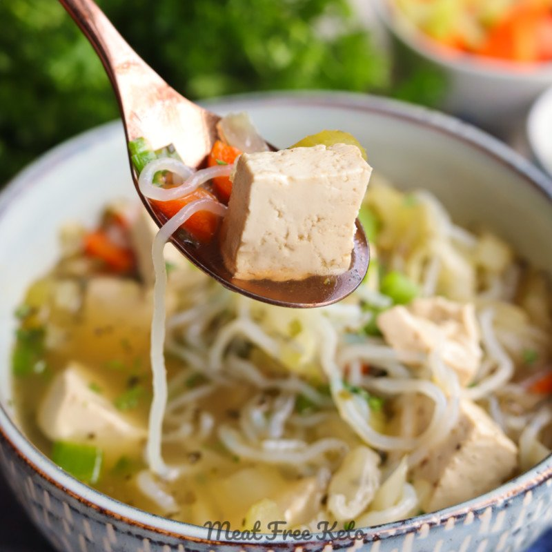 Vegan Keto Tofu Noodle Soup (gluten-free, instant pot version)