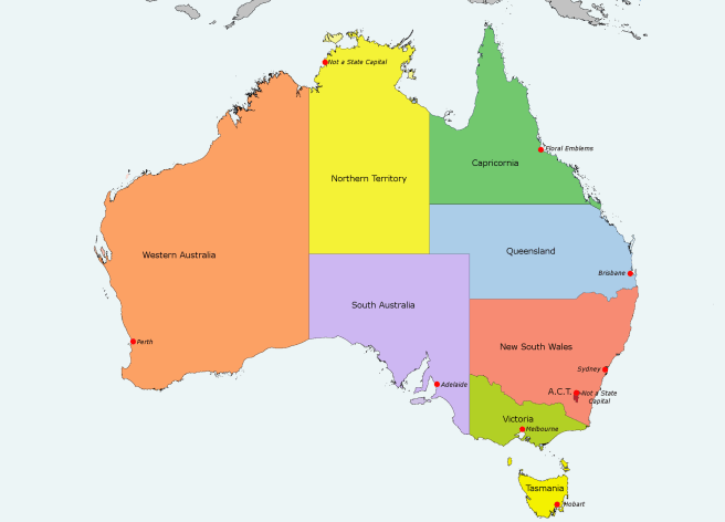 map of Australia with the capital cities marked