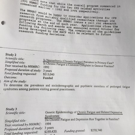 Fax showing the names of studies funded by the NHMRC. The studies are named in the article