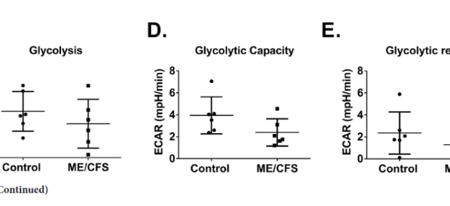 figures C,D,E showing lower levels in glycolysis compared to controls