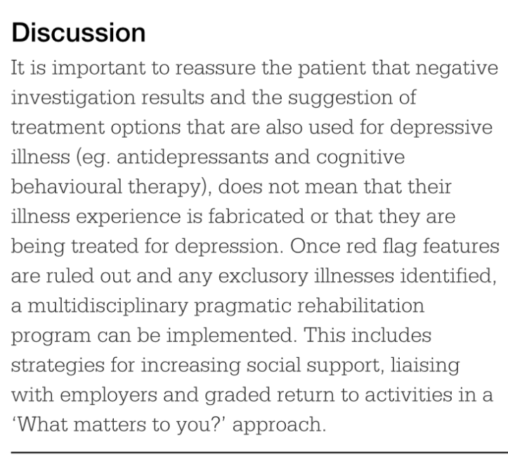 text from RACGP website recommending antidepressants, CBT and graded exercise