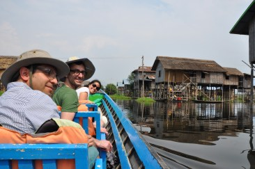 Riding the boat on Inle lake