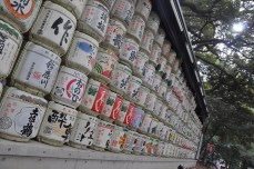 Sake barrels given as a tribute to the emperor