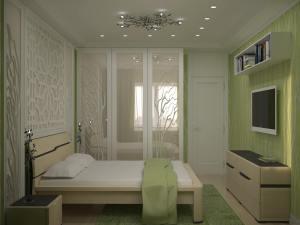 светлая спальня с стеновой панелью