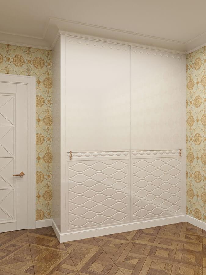 шкаф с фрезерованными фасадами покрытие эмаль глянец