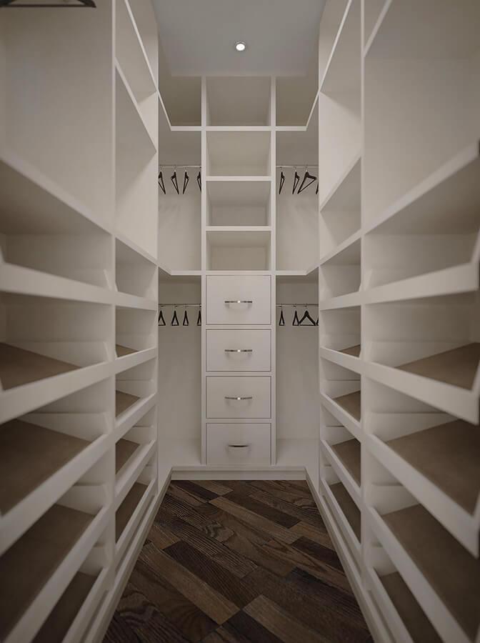 п образная гардеробная комната в светлых тонах