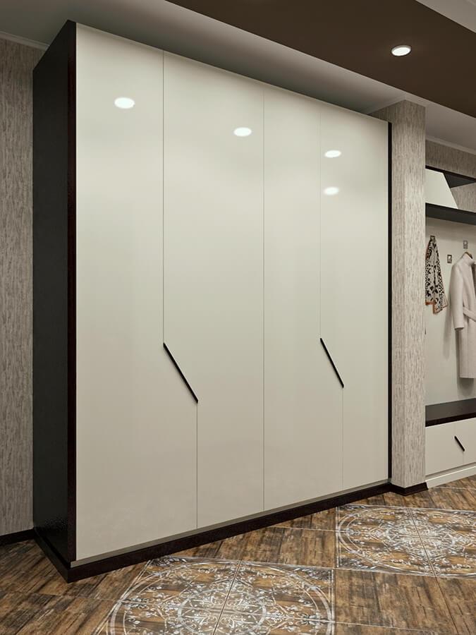 распашной шкаф с крашенными фасадами и массивными видимыми боками в шпоне