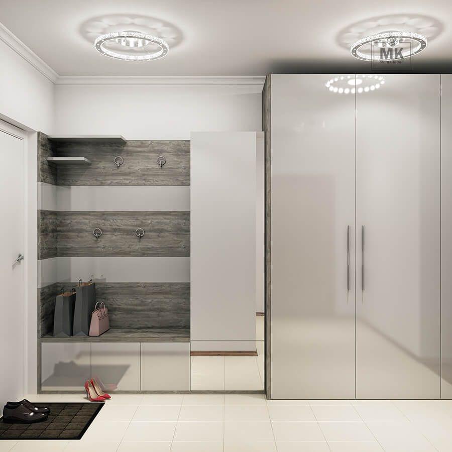 распашной шкаф в прихожую в сером цвете фасады эмаль глянец