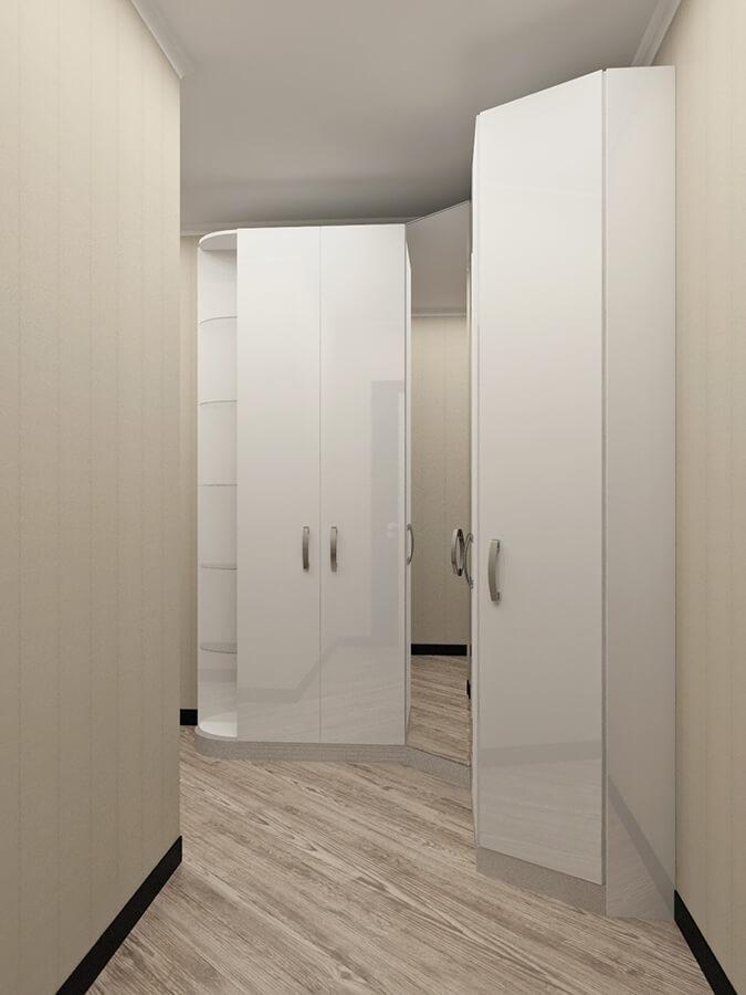 шкафная группа прихожей в белой эмали из мдф с распашными шкафами