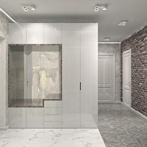 прихожая современный стиль в светло серых тонах с высокоглянцевыми фасадами и отделкой шпона дерева