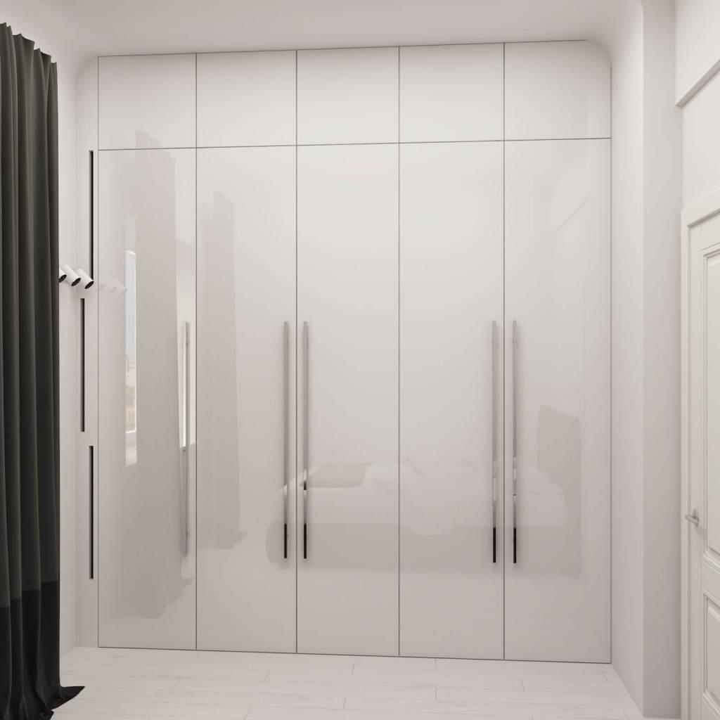 распашной шкаф в спальню с белыми фасадами эмаль глянец