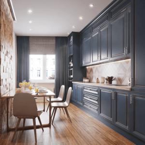 синяя кухня в стиле современная классика