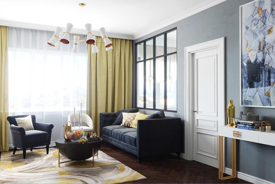 белая стенка в гостиную в стиле современная классика открытыми полками и ящиками