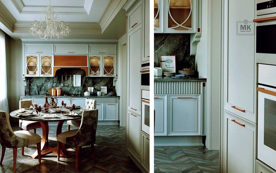 белая кухня в стиле арт деко
