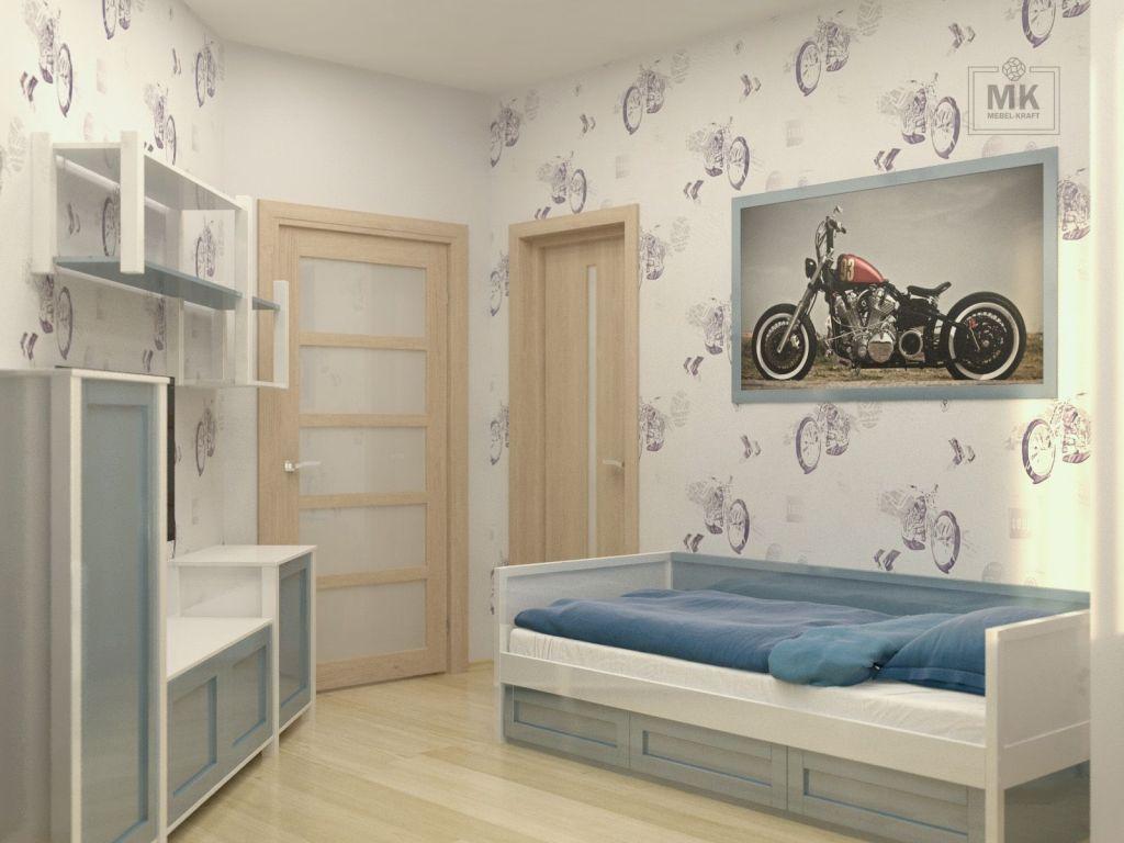 подростковая комната в эмали синего цвета глянец