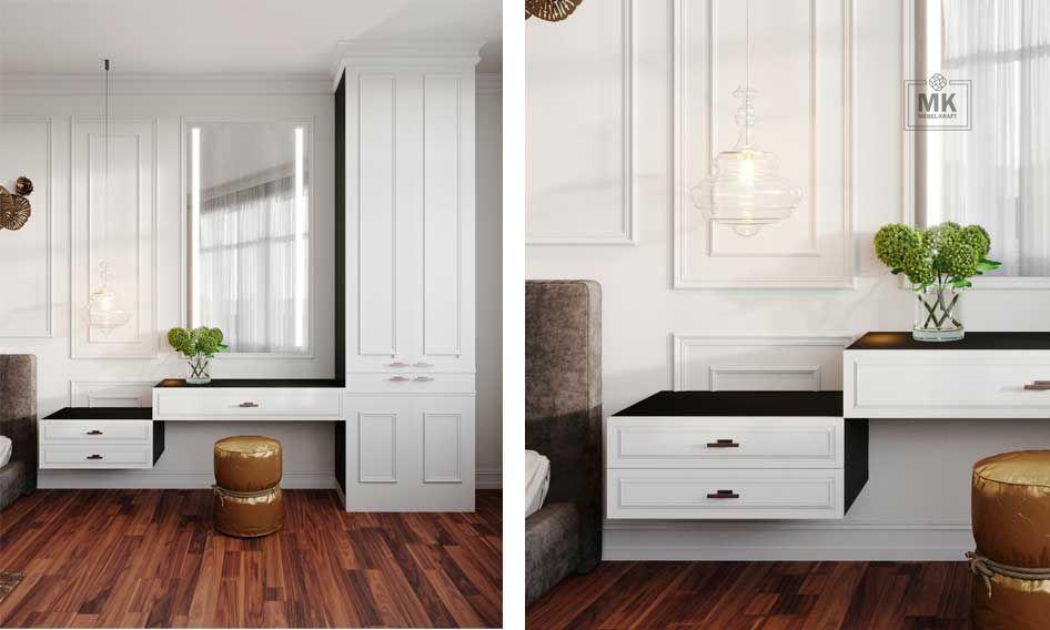 Спальня Tyler распашной классический белый шкаф в спальню с туалетным столом и прикроватной тумбой
