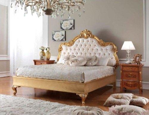 Кровать 160*200 с мягким изголовьем (отделка золотом)