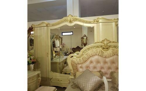 Спальня ДЖУЛЬЕТТА JULIET 3288, с 6-дверным шкафом, беж с золотом