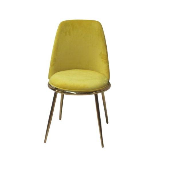 krzesło tapicerowane żółte