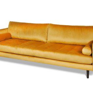sofa welurowa żółta hampton
