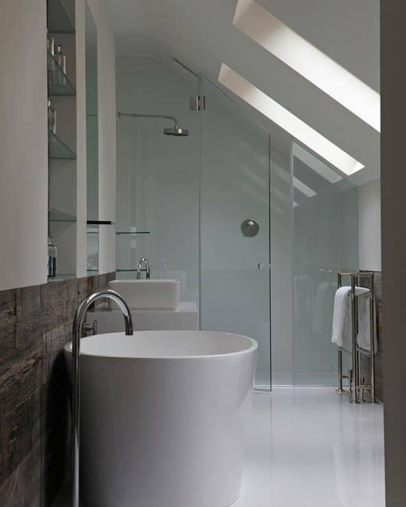 how to design around your sloped ceiling Slanted Roof Bathroom Designs on slanted attic bathroom, slanted wall bathroom, slanted ceiling bathroom, pitched roof bathroom,
