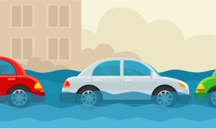 車が水没したその後の行動【結論:リスクしかない】|タイヤの半分ほど水没した場合